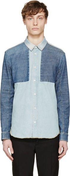 Maison Margiela Blue Patchwork Denim Shirt