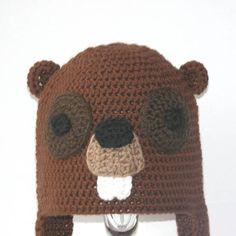 Crochet Animal Hat Pattern - Beauregard the Beaver Earflap Critter Hat - 4 sizes (6 months to adult). $7.95, via Etsy.