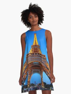 metres of wrought-iron' A-Line Dress by Hercules Milas Hercules, Canon Eos, Wrought Iron, Paris France, Chiffon Tops, Designer Dresses, Tower, Wonder Woman, Artists