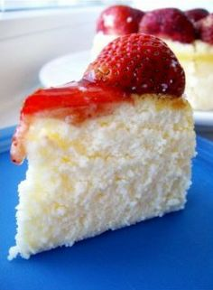 Light Strawberry Cheesecake ~ Ingredients needed:  7oz cream cheese, 1/2 c milk, 4 egg yolks, 1/4 c butter, 3.1/2 T flour, 1.1/2 tablespoons corn starch, 5 egg whites, 1/2 c sugar.
