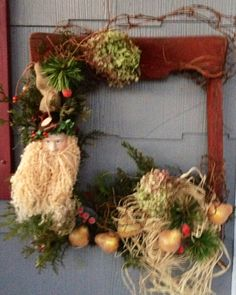 Wreath made from an old chair