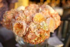 Garden Rose and Hydrangea Centerpiece Photo by: Anna Kim Photography