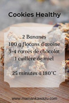 Recette de Cookies Healthy à la banane et aux flocons davoine Cookies Healthy, Healthy Cookie Recipes, Oatmeal Cookie Recipes, Banana Recipes, Oatmeal Cookies, Gourmet Recipes, Healthy Snacks, Dessert Recipes, Easy Recipes