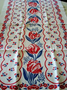 Perfect inspiration for my kitchen! Red, white and blue.