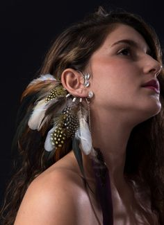 Tribal african feather ear cuff Wire wrapped feathers by BOHOREINA