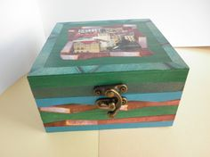 Hand Painted and collaged Wood Box Original mixed media Decorative art work wood box keepsake box Boite en bois peint et decoré à la main