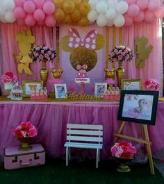 Minnie Mouse Birthday Decorations, Minnie Mouse Theme Party, Minnie Mouse Baby Shower, Mickey Mouse Clubhouse Birthday, Minnie Mouse Pink, Girl Baby Shower Decorations, Minnie Birthday, Birthday Goals, 2nd Birthday Parties