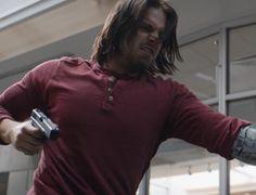 Bucky Barnes (Sebastian Stan) in Winter Soldier mode.  Fight scene with Tony Stark in Captain America: Civil War.