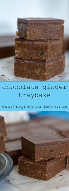 Crushed ginger snap biscuits mixed with crystallized ginger in a fudgey, chocolatey base, topped with yet more chocolate. An easy, no-bake traybake. Tray Bake Recipes, Brownie Recipes, Baking Recipes, Cake Recipes, Dessert Recipes, Baking Ideas, Chocolate Traybake, Ginger Chocolate, Christmas Baking
