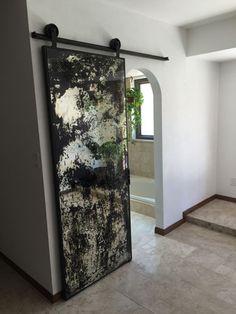 custom antique mirror barn door with blacken iron