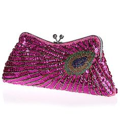 MZZ BEA145 Stunning Fully Sequined Feather Pattern Evening Purse Fashion Party Clutch Handbag hot pink >>> Read more reviews of the product by visiting the link on the image.