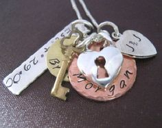 Hand Stamped Necklace The Keys To My Heart by JLynnCreations