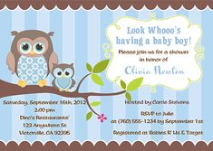$1 Owl Boy Baby Shower Invitations-owl,baby,shower,boy,personalized,  invitations,owl baby shower invitations