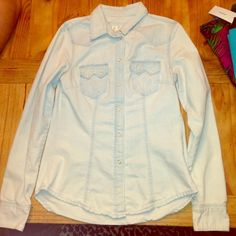 H & M denim shirt Good condition. One little stain on neck collar. H&M Tops