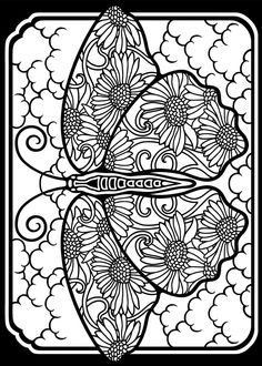 Welcome to Dover Publications-- Stained glass butterfly sample coloring pages. Print on vellum for lots of fun Coloring Book Pages, Printable Coloring Pages, Coloring Pages For Kids, Coloring Sheets, Doodle Coloring, Mandala Coloring, Butterfly Coloring Page, Dover Publications, Colorful Pictures