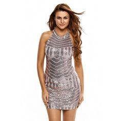 fd1e6afcbd9 halter neck sequin bodycon dress RI