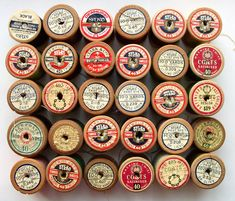antique thread spools, available @ wavesong on etsy, http://www.etsy.com/listing/57006041/antique-wooden-spools