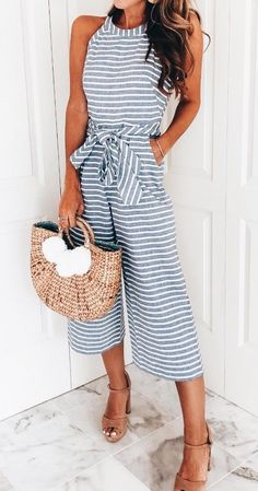 striped sleeveless jumpsuit summer