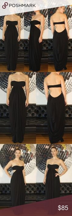 """BCBG Black Open Back Maxi Dress - S BCBG Max Azria  This Stunning Black Cocktail Dress Features a Pleated Bandeau Top, Open Back and Draped Sheath Maxi Skirt - Fully Lined. Perfect WOW Piece for a Cocktail Event.   S I Z E :  Small   B U S T : 16""""   W A I S T : 16""""   H I P :  21""""   L E N G T H :  55"""" From Bust to Hem    F A B R I C :  69% Acetate 23% Nylon 8% Spandex    C O N D I T I O N : Excellent Pre-Owned, The Hook on Shoulder Straps that came with this dress have been miss-placed but…"""