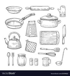 Sketch kitchen tools cooking utensils hand drawn vector image on VectorStock Cheap Kitchen, Kitchen Tools, Cooking Utensils, Cooking Tools, Koch Tattoo, Kitchen Drawing, Pencil Shading, Object Drawing, How To Draw Hands