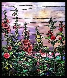 Tiffany Hollyhocks Stained Glass