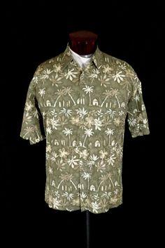 365b0938 Vintage Campia Moda Brown 100% Cotton Island Print Hawaiian Aloha Shirt L  #CampiaModa #
