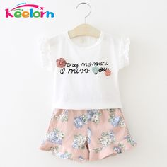 Keelorn Girls Clothing Sets 2017 Summer Casual Style Girls Clothes Letter T-shirt+ printing shorts 2Pcs Suit Kids Clothes 2-6y