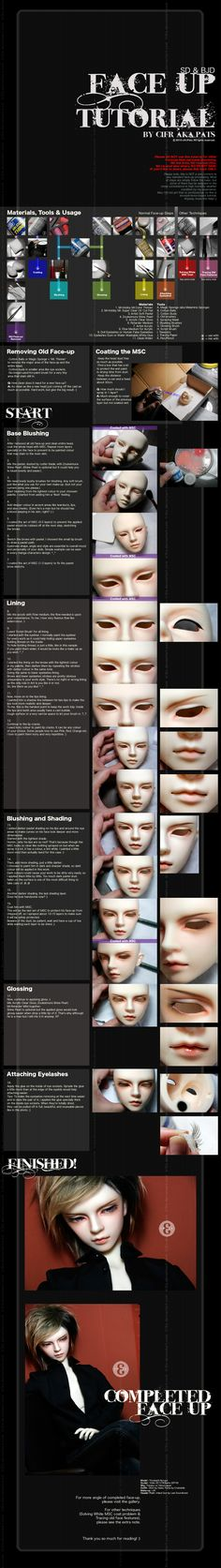 A faceup tutorial w/ suggested brushes.