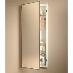 Broan-NuTone 461P24CH 26-Inch Federal Spec Single-Door Recessed Medicine Cabinet by Broan-NuTone. $152.20. From the Manufacturer                Overall Size: 18-Inch x 26-Inch x 4-1/2-Inch. Wall Opening Size: 16-Inch x 24-Inch x 3-1/2-Inch. Features are: Painted steel body, 3 Adjustable glass shelves, Piano hinge, Chrome framed exterior mirror, Meets government specification WWP541/8B, Reversible for left or right hand opening. Dedicated to new product development, superior...