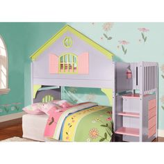Create a life-size doll house for your little one with this fun loft-style bed. Finished in soft pastel shades of lavender, pink, and lime, this whimsical stair-step bed features a built-in four-drawer chest for storing clothing or other necessities.