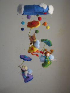 Arcobaleno pioggia ago feltrata waldorf ispirato di Made4uByMagic