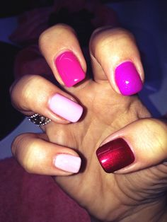 Gelish nails - pink/red