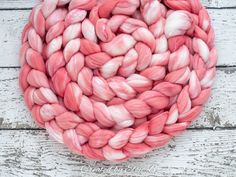 Pink Coral - Hand dyed Superfine Merino / Silk combed top. Good for spinning yarn, felting, blending & weaving.