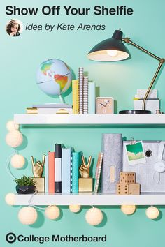 "Mom pinner, Kate Arends is a design pro and shelfies are all the rage. ""Storage is key in making a dorm room feel more like home. Incorporate a shelf to maximize space. A great way to store books, lighting, plants, even a dedicated space to store keys and phone. Try mixing in colorful storage boxes and decor to make the most of the space."" This pin was made by Moms, for Moms to make sending any student off to college easy, thanks to the On to College Motherboard."