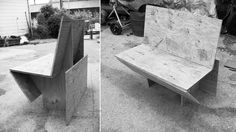 Plywood mock-up testing seating angles for the steel banquette
