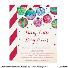 Christmas Ornaments Merry Little Baby Shower Card
