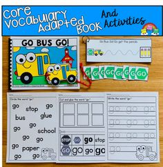 Go Bus Go! A Core Words Adapted Book Set - It's Free! : File Folder Games at File Folder Heaven - Printable, hands-on fun! Frog Activities, Autism Activities, Vocabulary Activities, Back To School Activities, Vocabulary Words, Therapy Activities, Classroom Helpers, Classroom Ideas, Kindergarten Anchor Charts