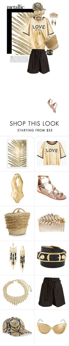 """You're Golden: Metallic Swimwear"" by ashblondredhed ❤ liked on Polyvore featuring Oliver Gal Artist Co., MANGO, Martha Medeiros, Steve Madden, Caterina Bertini, Miriam Haskell, Laundry by Shelli Segal, Balenciaga, Amrita Singh and Apiece Apart"