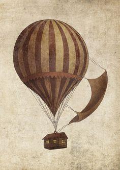 Departure Art Print by Terry Fan Arte Steampunk, Steampunk Design, Air Ballon, Hot Air Balloon, Ballon Illustration, Estilo Tim Burton, Terry Fan, Poster Prints, Art Prints