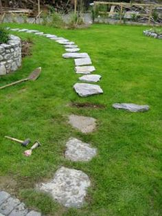 """Stepping stones, Leave the rocks for a few days and you will have a """"pattern"""" to cut"""