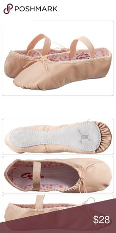 Pink ballet flats new in box size 3M PRODUCT INFORMATION: Supple and durable leather ballet shoe. Practical and fun for every age dancer. Available in a shade of ballet pink that perfectly matches Capezio® ballet pink tights. Daisy print, hung cotton lining. Satin ID tag. Drawstring secured at the back. Full suede sole. Elastics are pre-attached. NWT size 3M Capezio Shoes