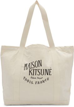 MAISON KITSUNÉ Ecru Palais Royal Tote. #maisonkitsuné #bags #hand bags #canvas #tote #cotton #