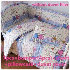 Promotion! 6/7PCS New Baby Bedding Sets 100% Cotton Baby Cot Bedclothes Cartoon Crib Bedding Set  ,120*60/120*70cm