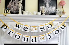 Graduation Party Decorations, graduation banner, first communion banner, Congratulations banner,  We are so Proud of you,  Party Decorations...