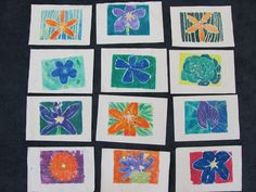 Georgia O'keeffe inspired mono prints by grade 4, foam printing plate, markers, soaked then dried paper, brayer.