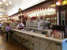 Zaharakos Ice Cream Parlor gleams with anticipation of filling sweet tooths! #Columbus #Indiana