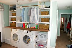 ~~pinned from site directly~~ . I love the laundry room these people made. Seesaws and Sawhorses: Laundry Unit Progress Utility Room Storage, Laundry Basket Storage, Laundry Room Organization, Diy Storage, Storage Shelves, Creative Storage, Storage Ideas, Laundry Room Remodel, Laundry Room Bathroom