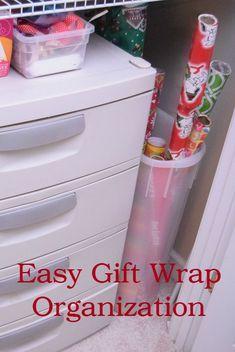 Easy Gift Wrap Organization | Christmas Organization | Miss Information