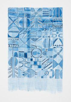 Indigo Memory, Ink and Gouache on Paper, 42 cm x 29.7 cm unframed.