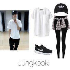 Dance Practice with Jungkook by btsoutfits on Polyvore featuring mode, rag & bone, M&S Collection, NIKE and adidas Originals